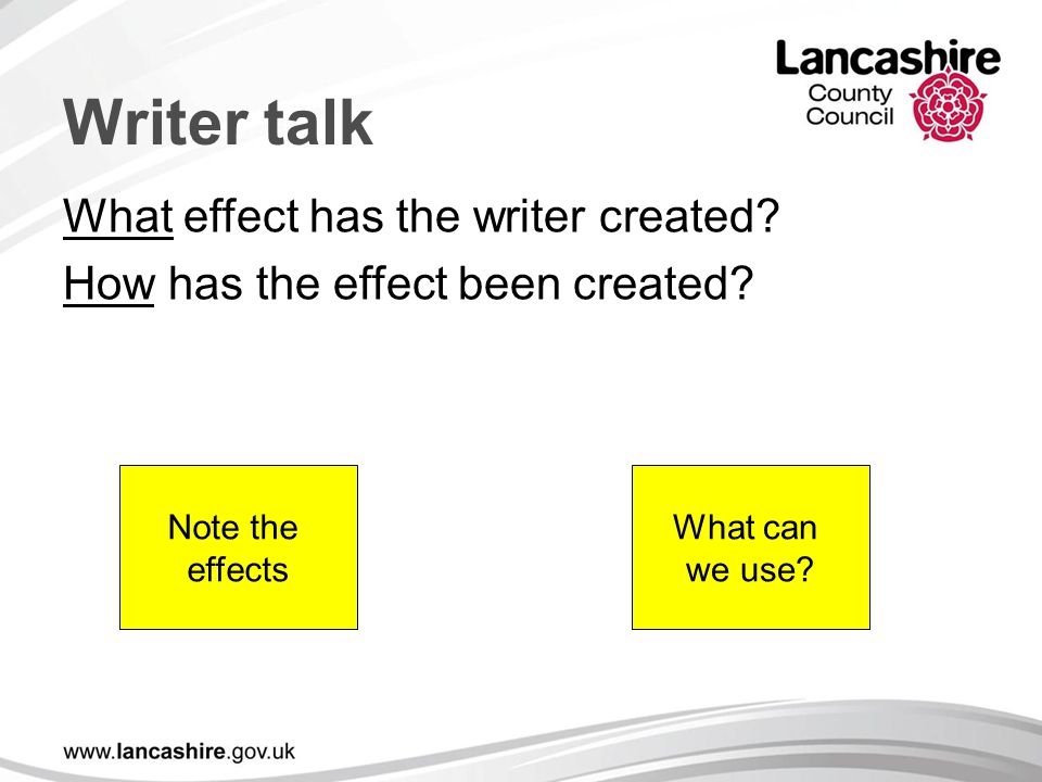 Writer talk What effect has the writer created