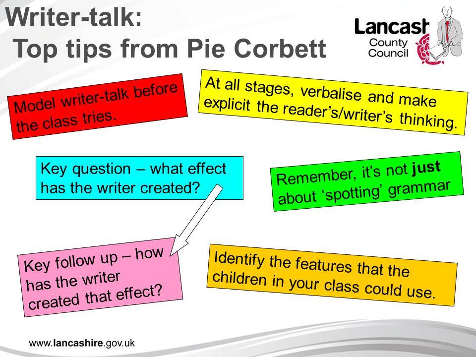 Writer-talk: Top tips from Pie Corbett