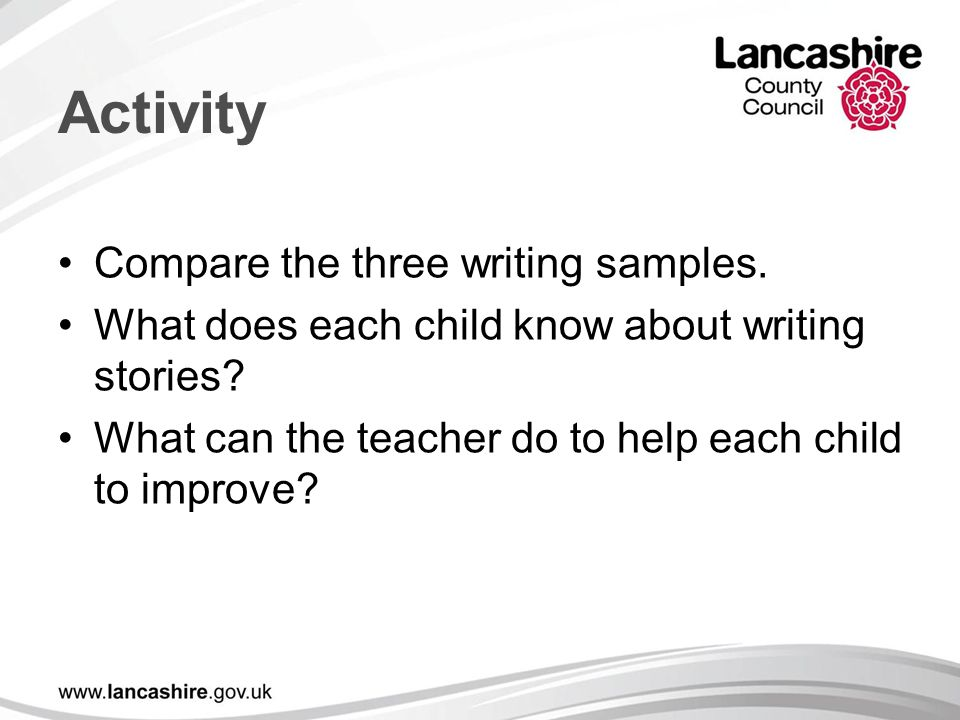 Activity Compare the three writing samples.
