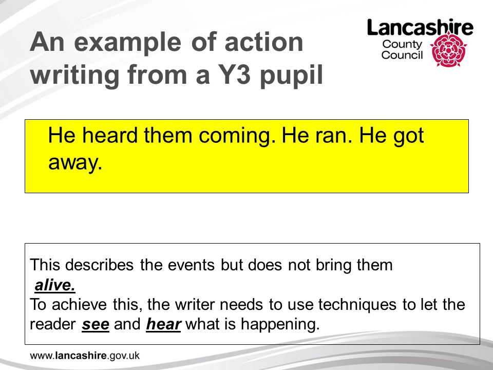 An example of action writing from a Y3 pupil