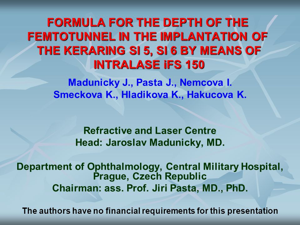 FORMULA FOR THE DEPTH OF THE FEMTOTUNNEL IN THE IMPLANTATION OF THE KERARING SI 5, SI 6 BY MEANS OF INTRALASE iFS 150