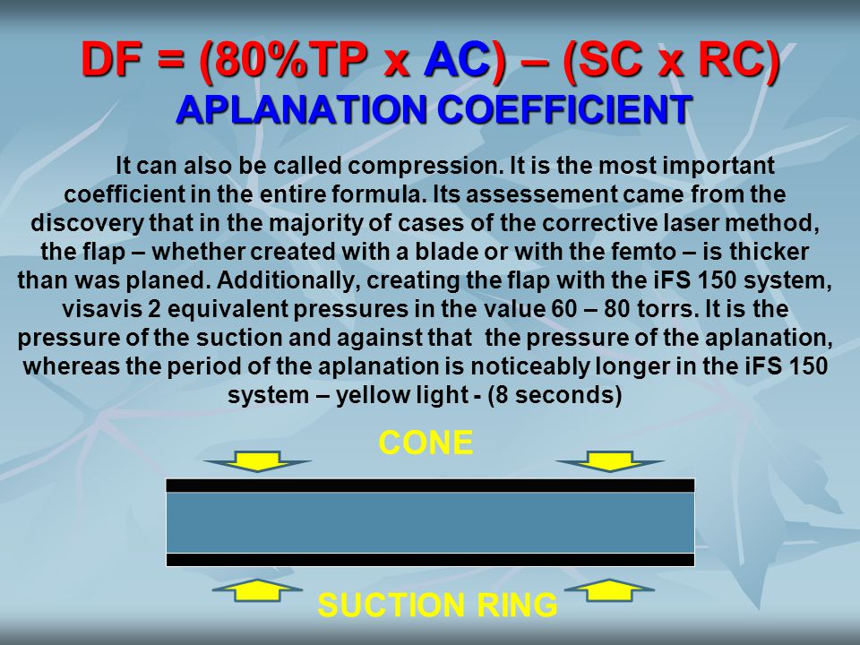 DF = (80%TP x AC) – (SC x RC) APLANATION COEFFICIENT