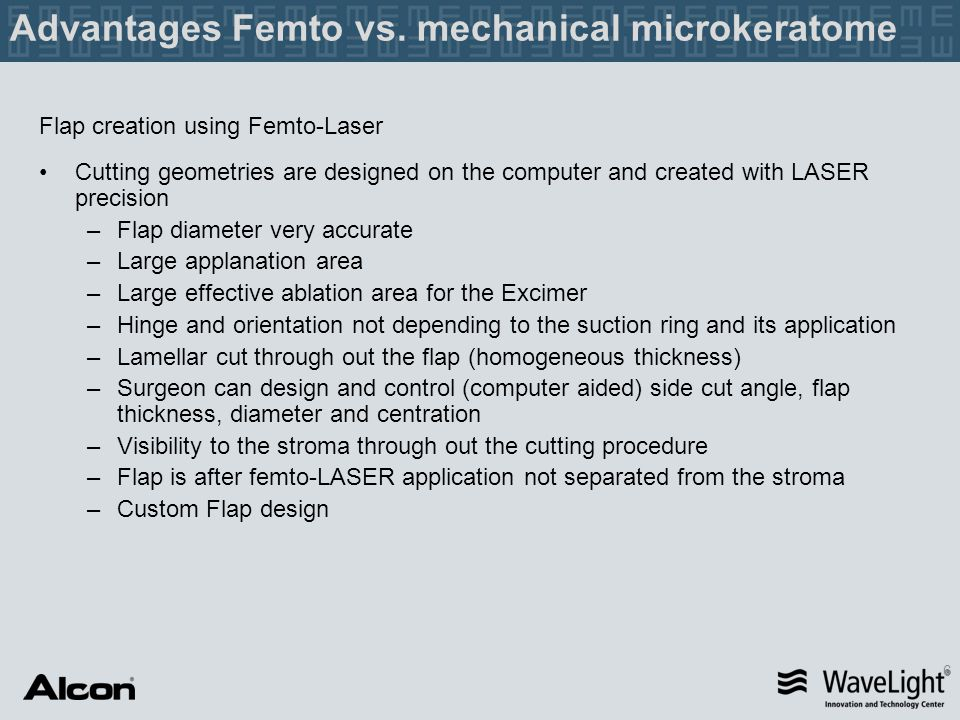 Advantages Femto vs. mechanical microkeratome