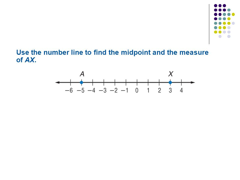 Use the number line to find the midpoint and the measure of AX.