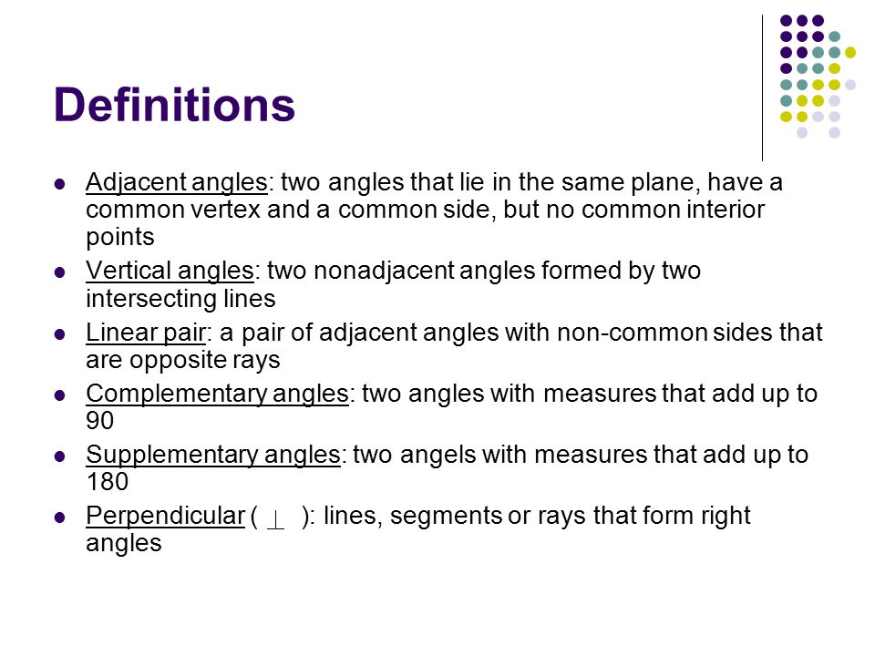 Definitions Adjacent angles: two angles that lie in the same plane, have a common vertex and a common side, but no common interior points.
