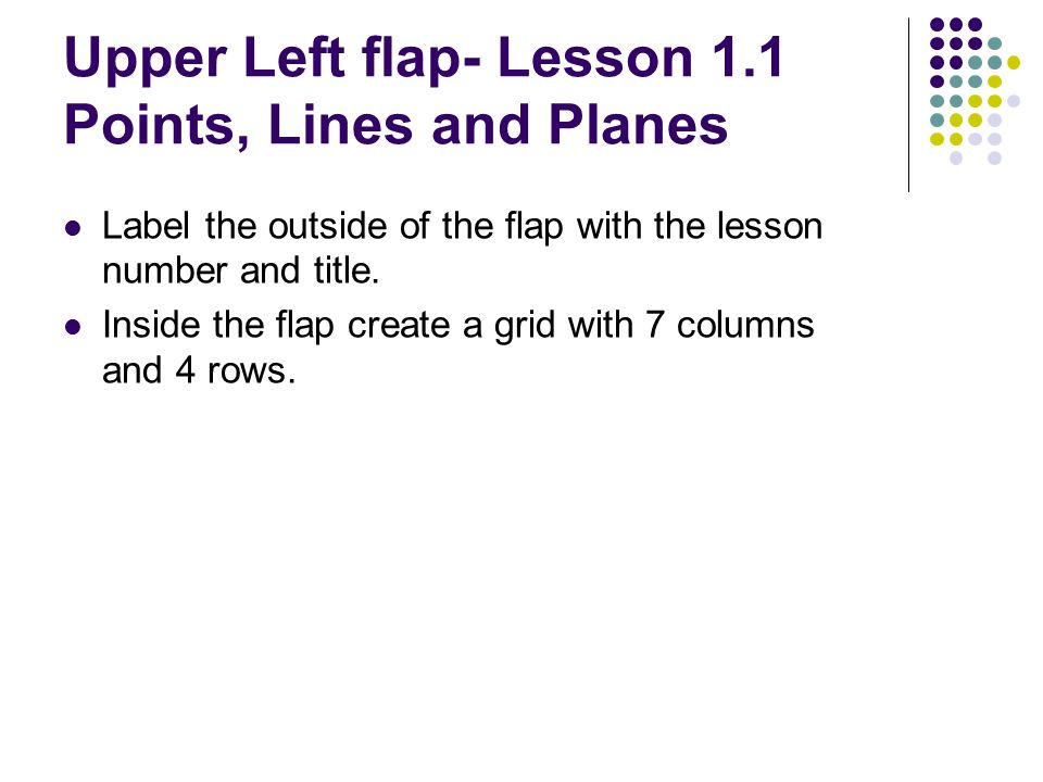 Upper Left flap- Lesson 1.1 Points, Lines and Planes