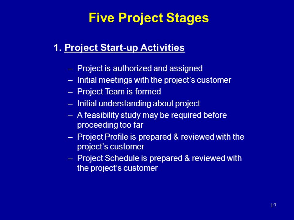 Five Project Stages 1. Project Start-up Activities