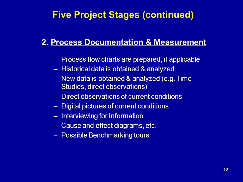 Five Project Stages (continued)