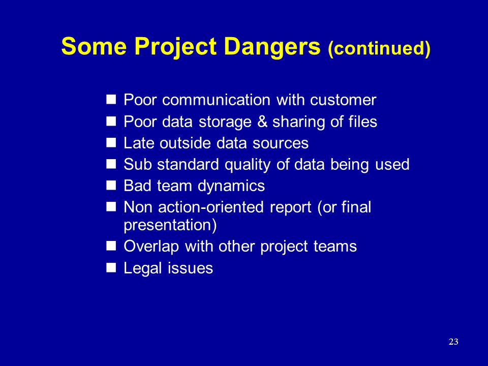 Some Project Dangers (continued)