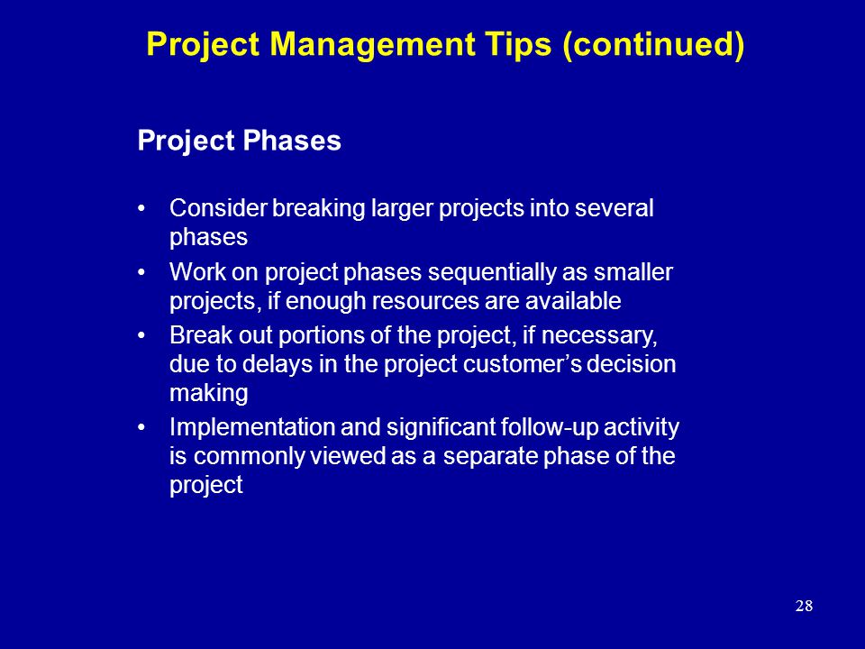 Project Management Tips (continued)