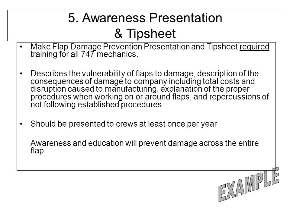 5. Awareness Presentation & Tipsheet