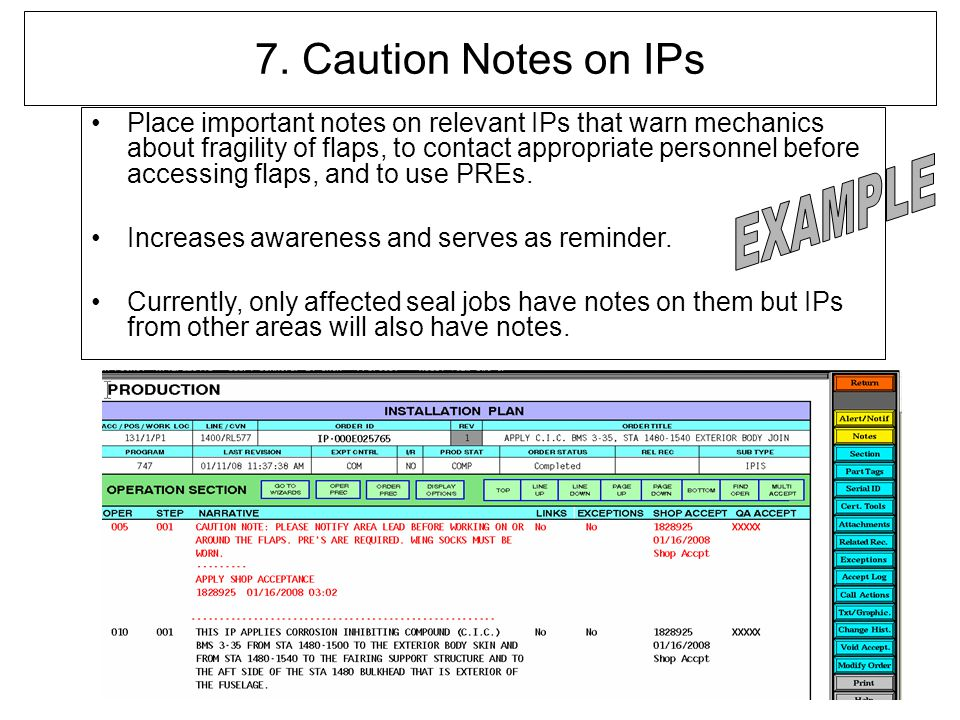 7. Caution Notes on IPs EXAMPLE