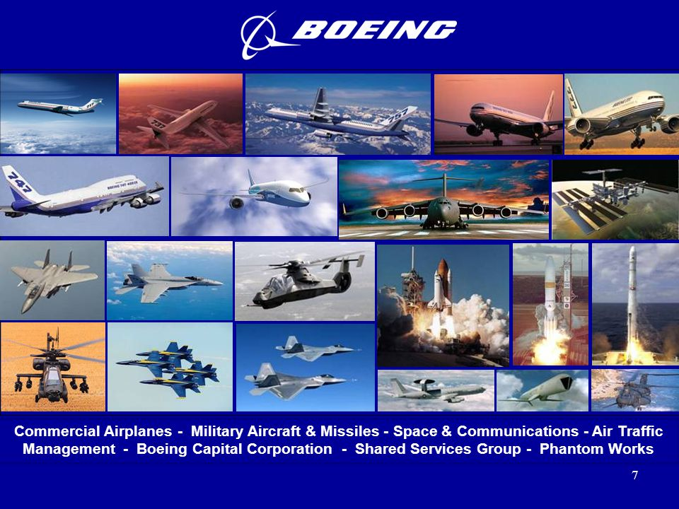 Commercial Airplanes - Military Aircraft & Missiles - Space & Communications - Air Traffic Management - Boeing Capital Corporation - Shared Services Group - Phantom Works
