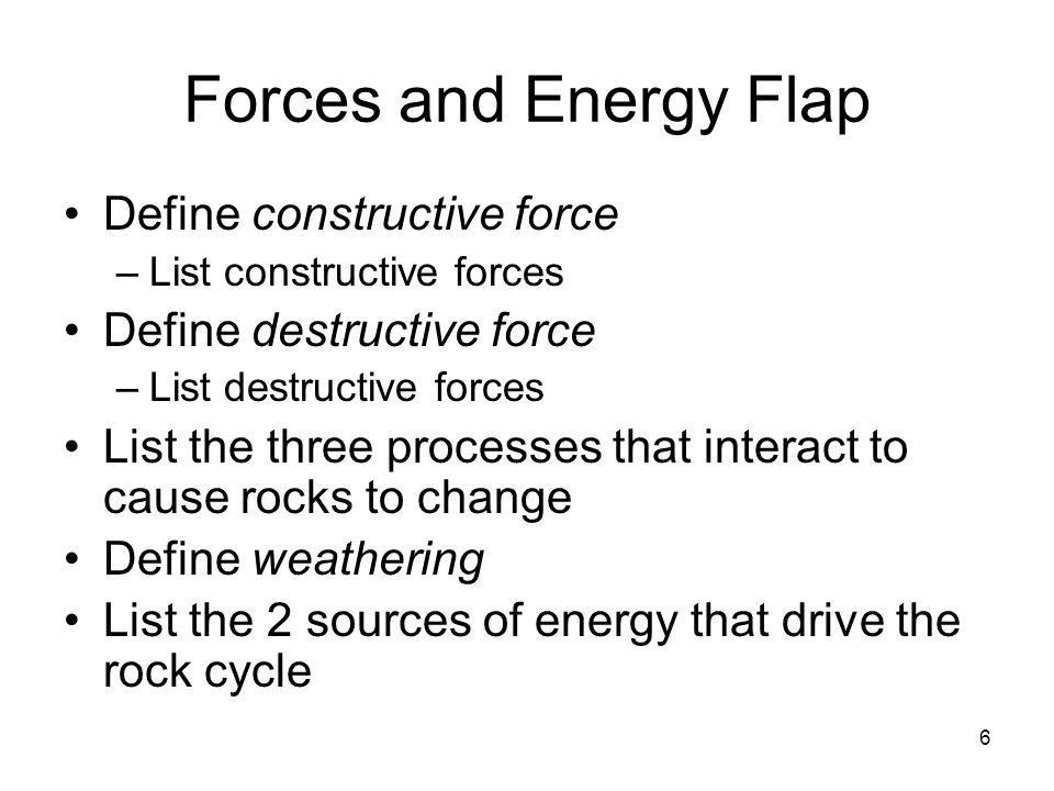 Forces and Energy Flap Define constructive force