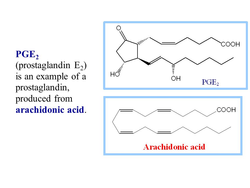 PGE2 (prostaglandin E2) is an example of a prostaglandin, produced from arachidonic acid.