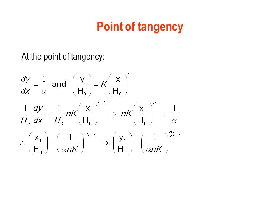 Point of tangency At the point of tangency: