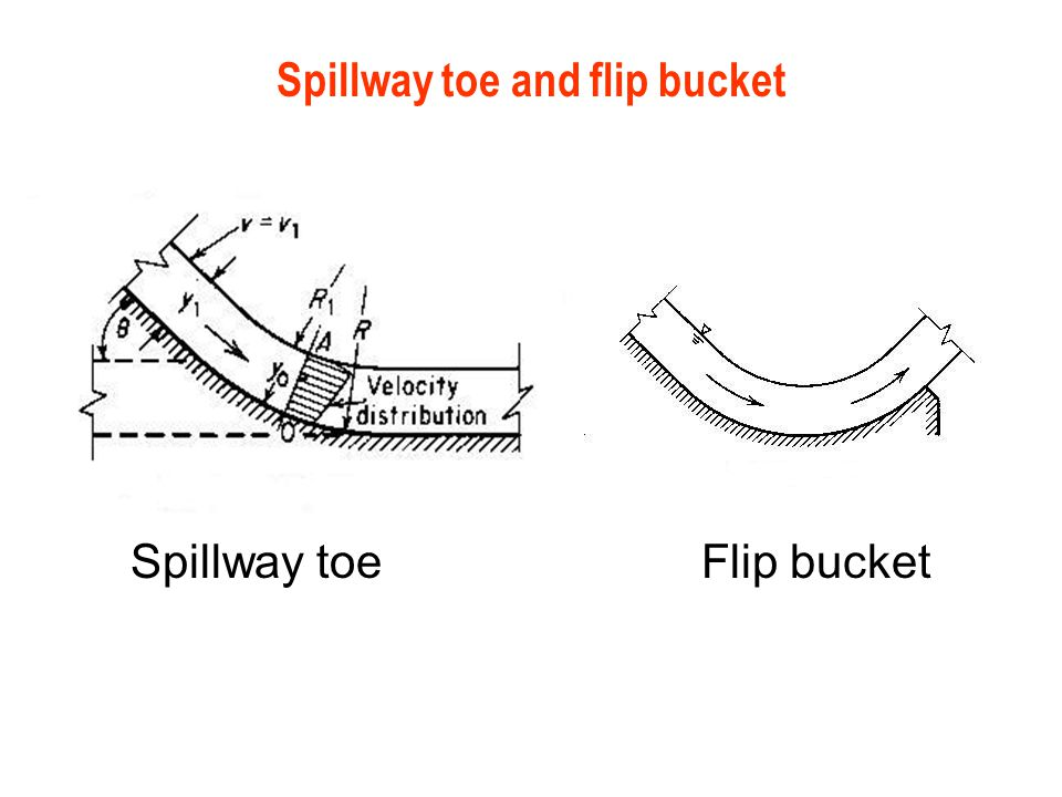 Spillway toe and flip bucket