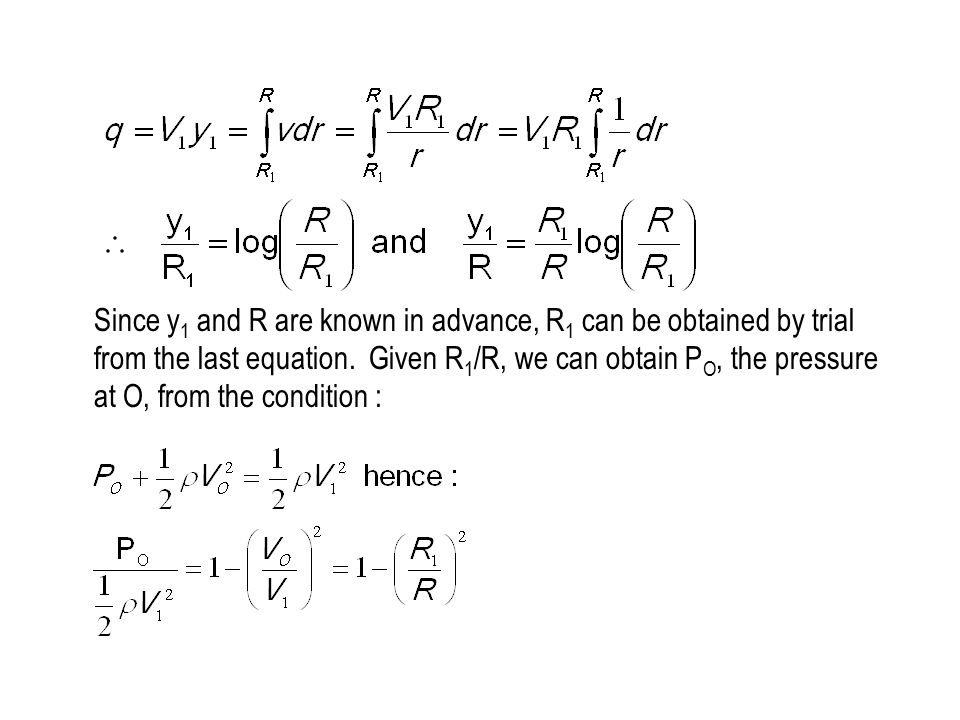 Since y1 and R are known in advance, R1 can be obtained by trial from the last equation.