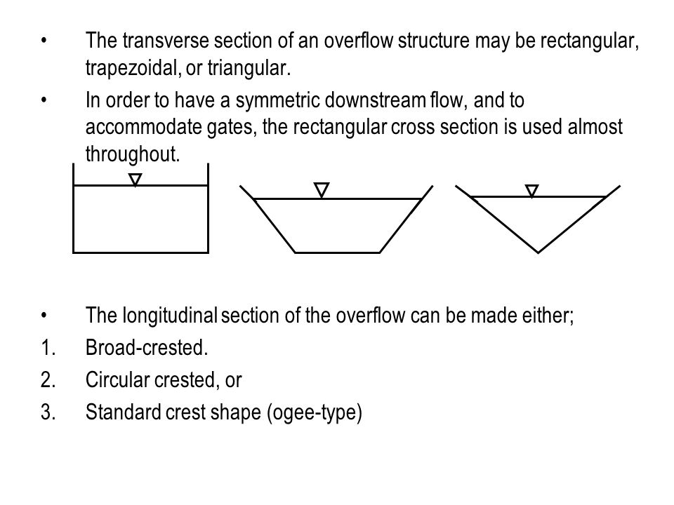 The transverse section of an overflow structure may be rectangular, trapezoidal, or triangular.