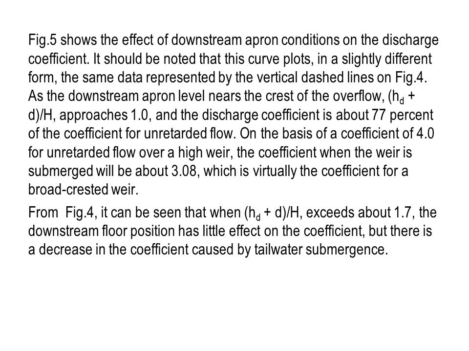 Fig.5 shows the effect of downstream apron conditions on the discharge coefficient.