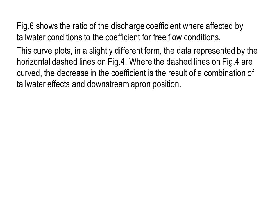 Fig.6 shows the ratio of the discharge coefficient where affected by tailwater conditions to the coefficient for free flow conditions.