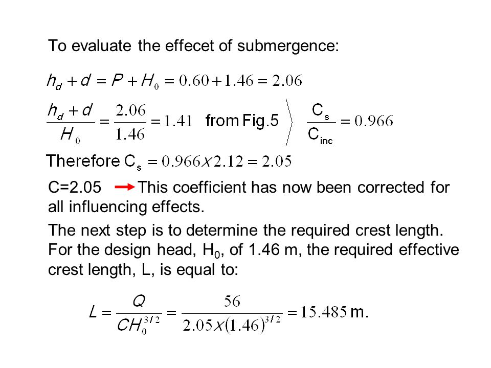To evaluate the effecet of submergence: C=2