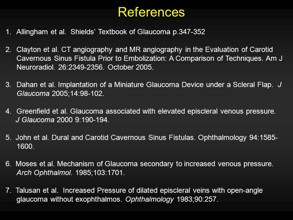 References Allingham et al. Shields' Textbook of Glaucoma p.347-352