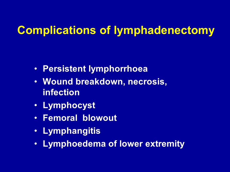 Complications of lymphadenectomy