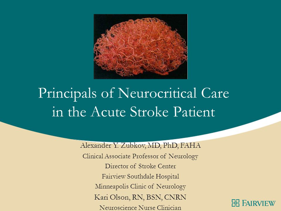 Principals of Neurocritical Care in the Acute Stroke Patient