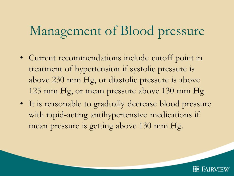 Management of Blood pressure