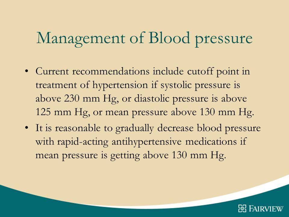 Management of Blood pressure
