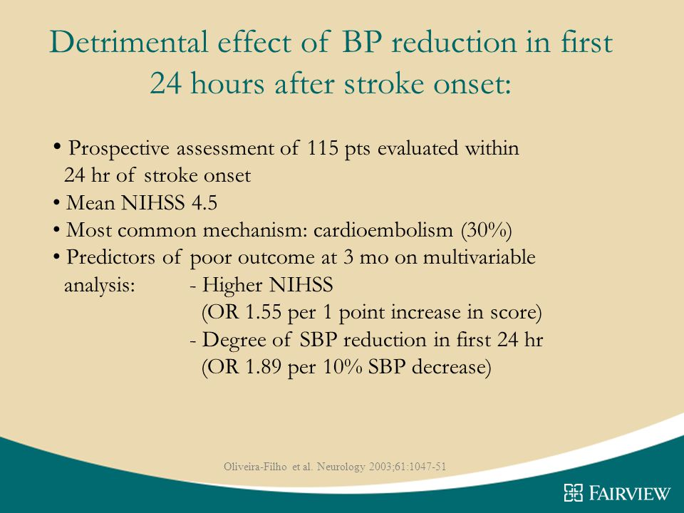 Detrimental effect of BP reduction in first 24 hours after stroke onset: