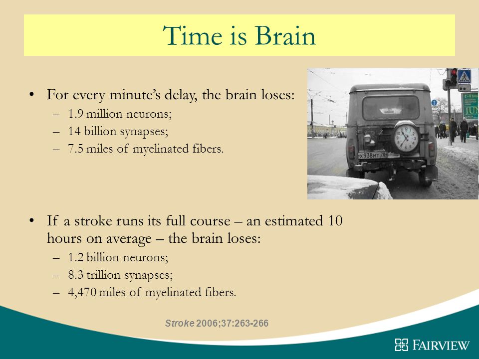 Time is Brain For every minute's delay, the brain loses: