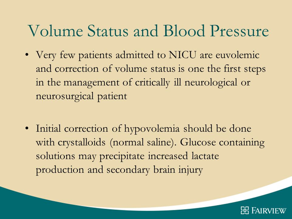 Volume Status and Blood Pressure