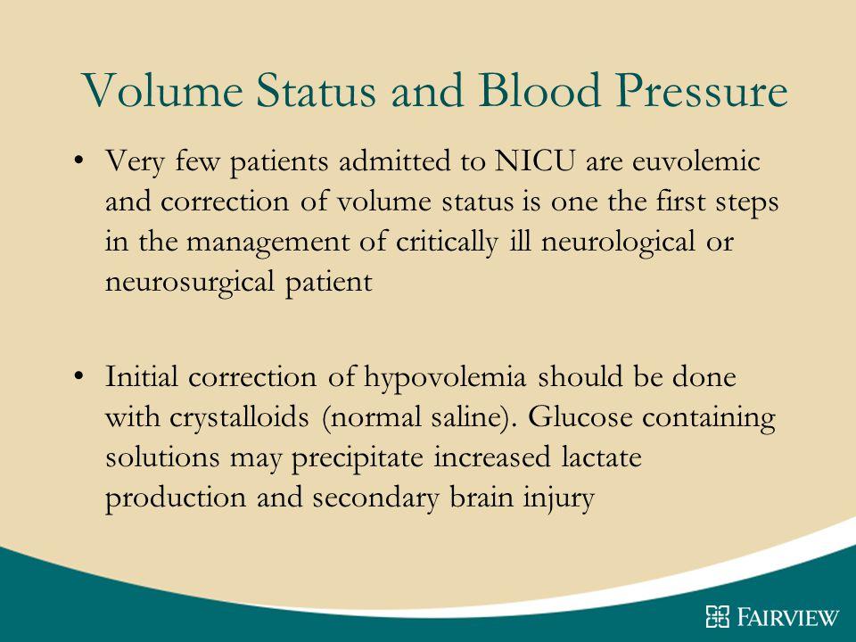 Volume Status and Blood Pressure