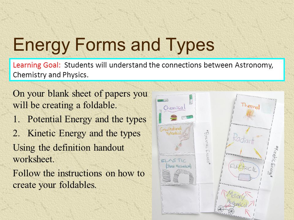 Energy Forms and Types Learning Goal: Students will understand the connections between Astronomy, Chemistry and Physics.