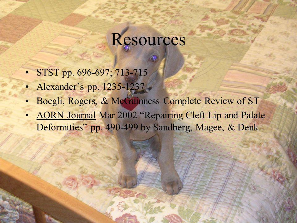 Resources STST pp. 696-697; 713-715 Alexander's pp. 1235-1237