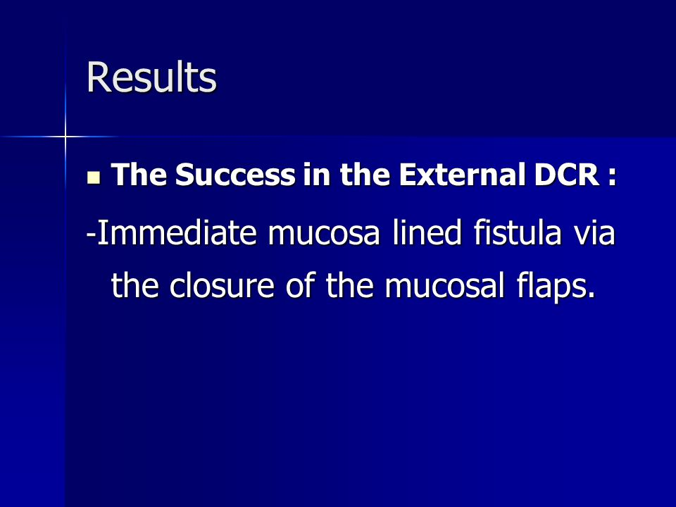 Results The Success in the External DCR :