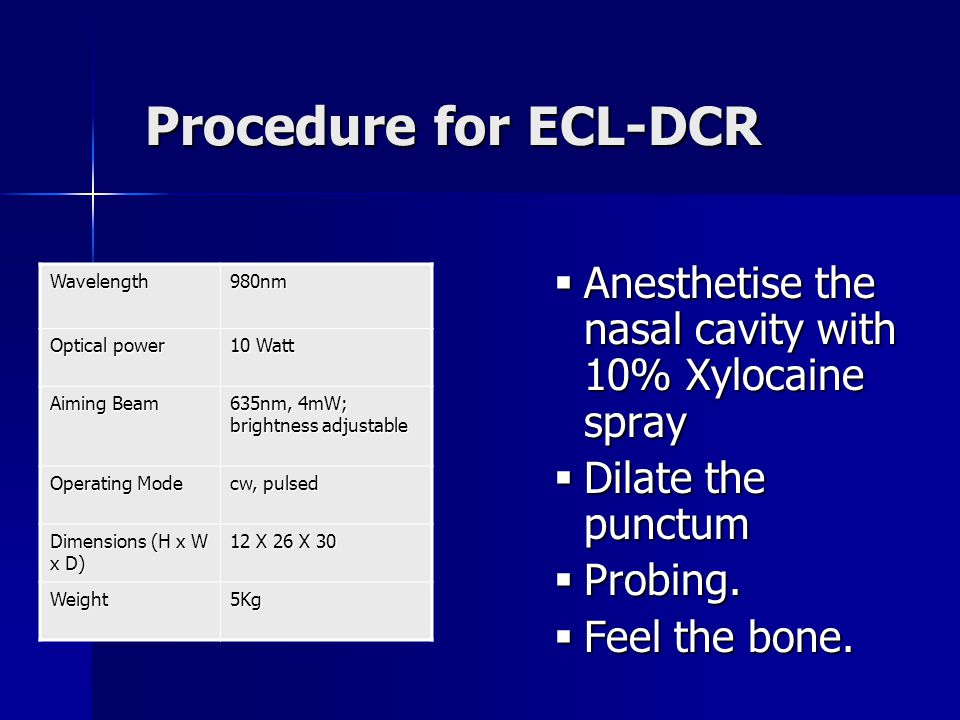 Procedure for ECL-DCR Anesthetise the nasal cavity with 10% Xylocaine spray. Dilate the punctum. Probing.