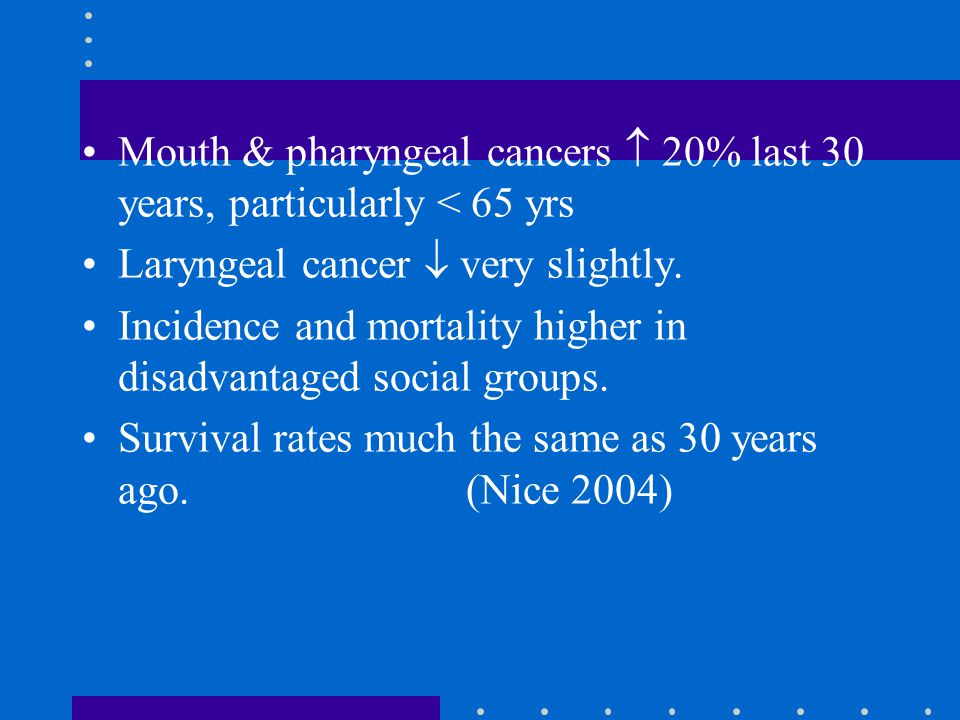 Mouth & pharyngeal cancers  20% last 30 years, particularly < 65 yrs