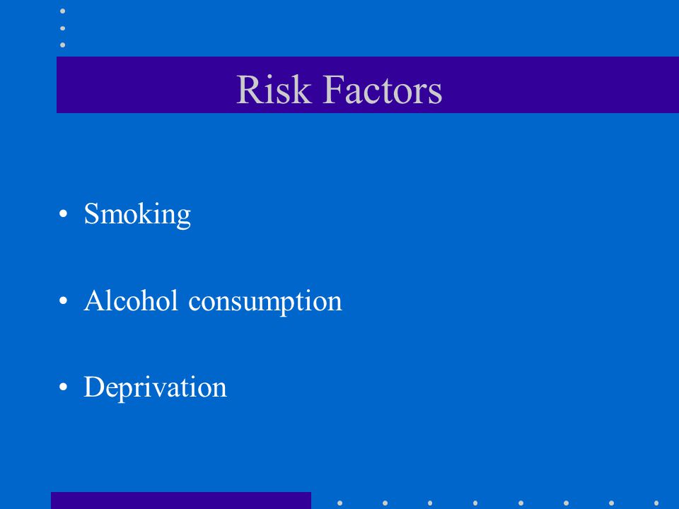 Risk Factors Smoking Alcohol consumption Deprivation