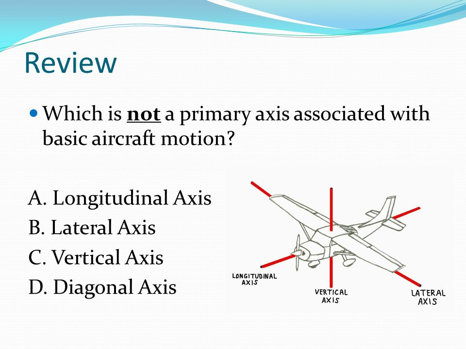 Review Which is not a primary axis associated with basic aircraft motion A. Longitudinal Axis. B. Lateral Axis.