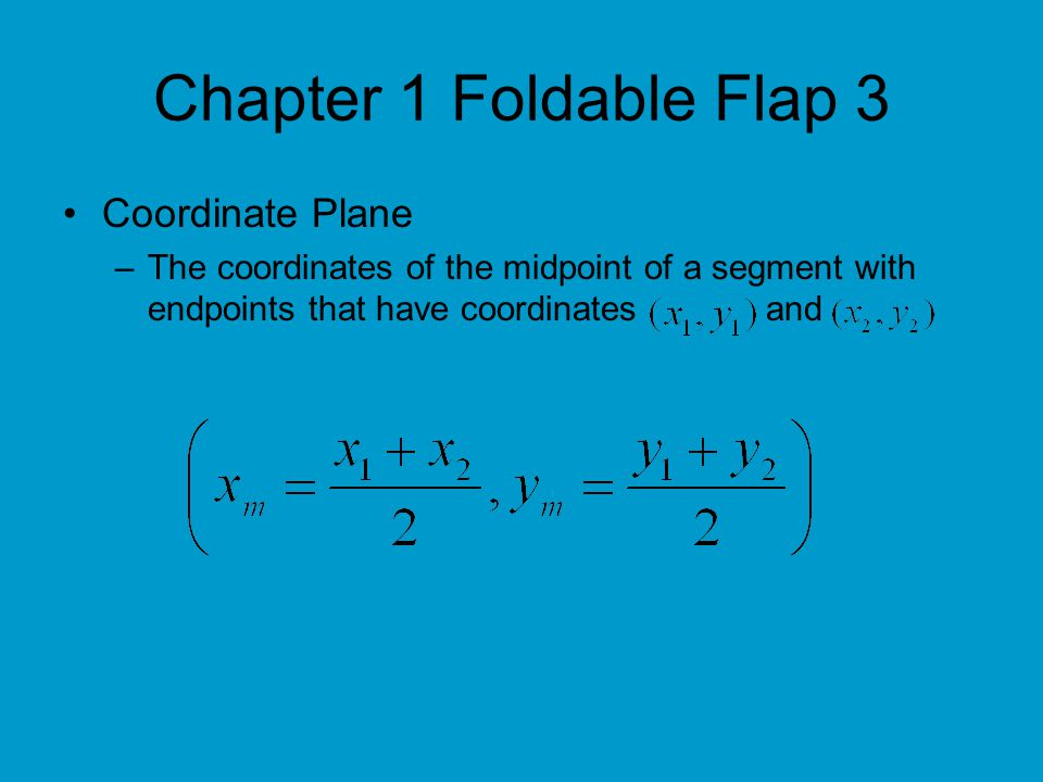 Chapter 1 Foldable Flap 3 Coordinate Plane