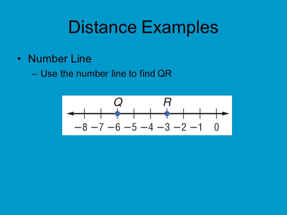 Distance Examples Number Line Use the number line to find QR