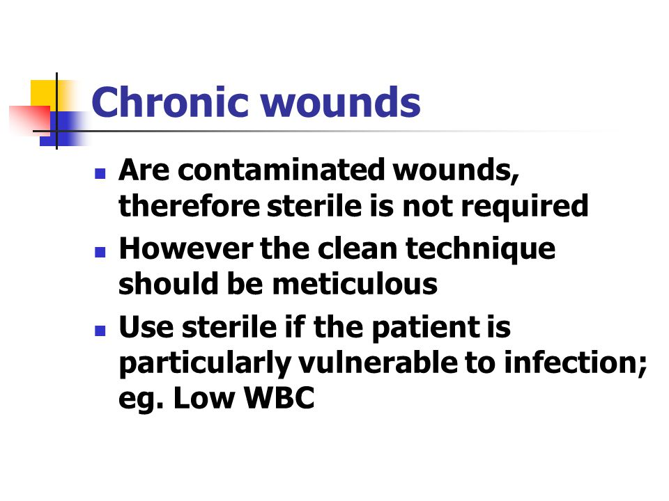 Chronic wounds Are contaminated wounds, therefore sterile is not required. However the clean technique should be meticulous.