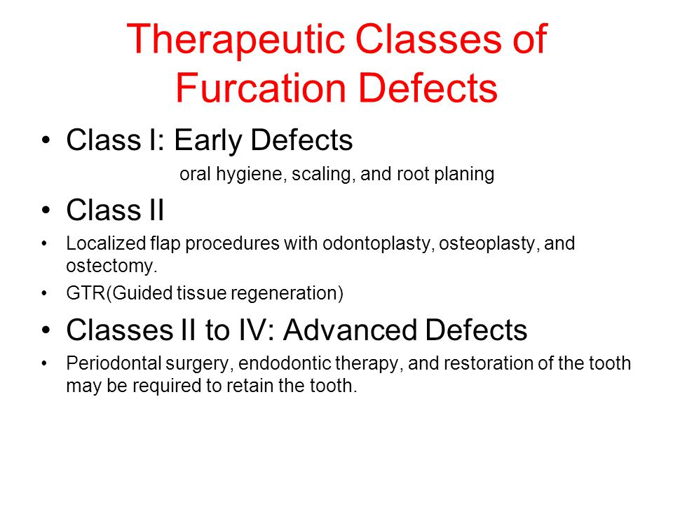 Therapeutic Classes of Furcation Defects