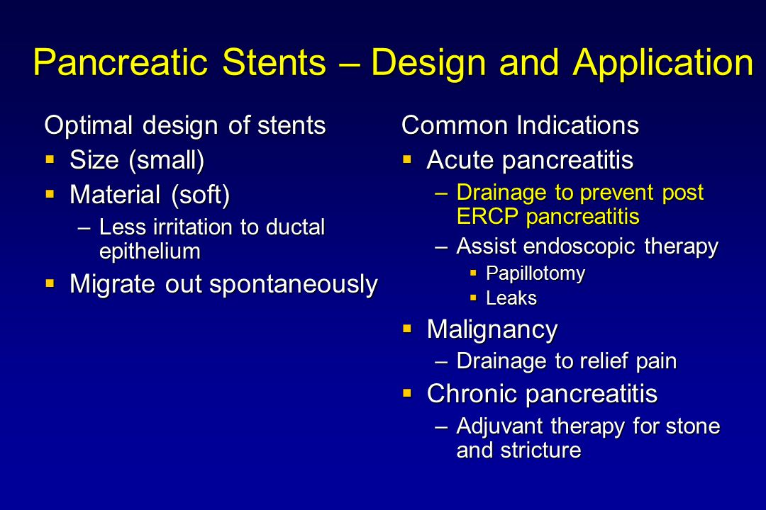 Pancreatic Stents – Design and Application
