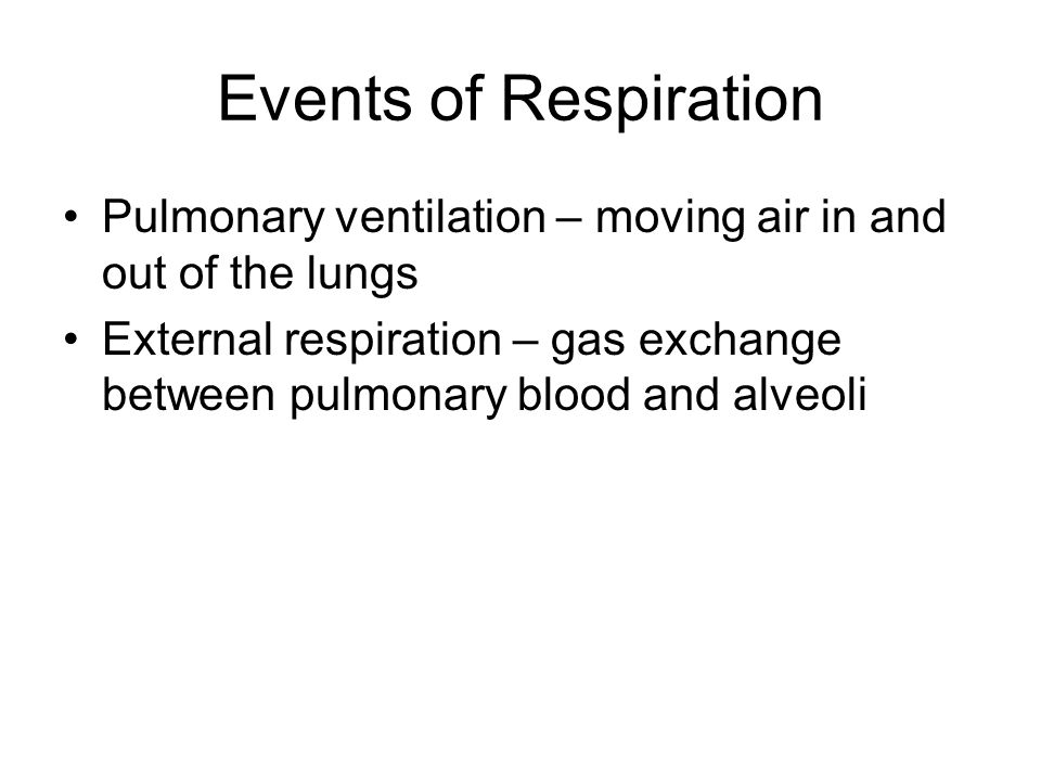 Events of Respiration Pulmonary ventilation – moving air in and out of the lungs.
