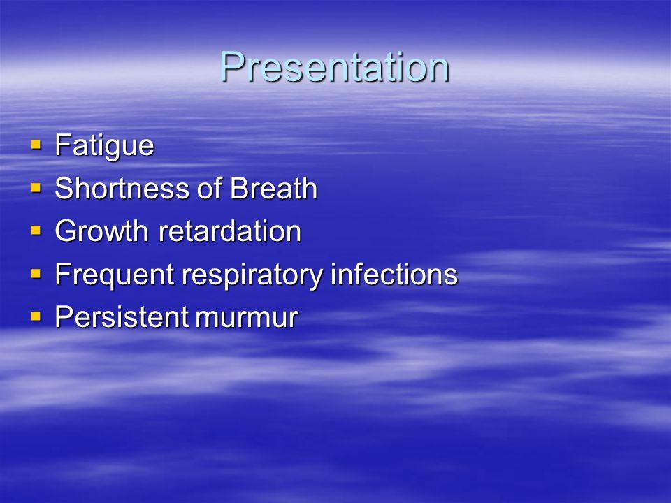 Presentation Fatigue Shortness of Breath Growth retardation