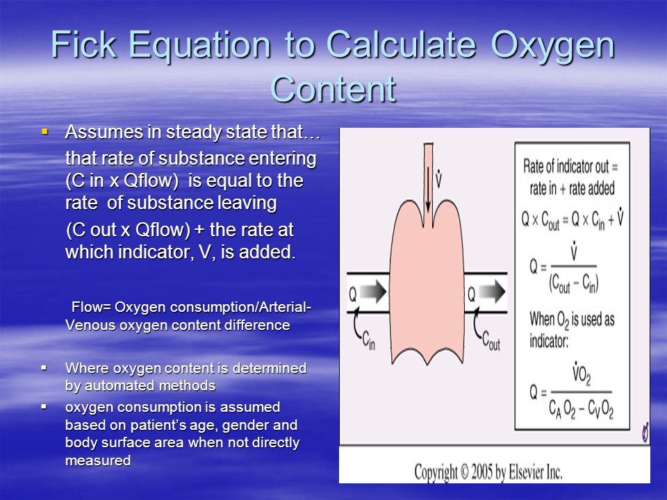 Fick Equation to Calculate Oxygen Content